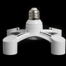 4 In 1 E27 To 4E27 Base Socket Splitter LED Light Lamp Bulb Adapter Holder White