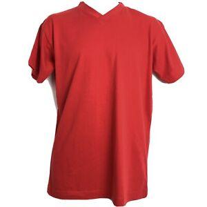 Kappa-Robe-Di-Kappa-Mens-T-Shirt-Red-Cotton-Short-Sleeve-Logo-V-Neck-Size-M