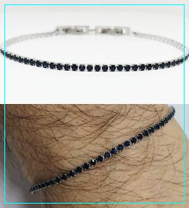 Bracciale tennis Uomo Donna braccialetto acciaio inox in blu regolabile 2 mm