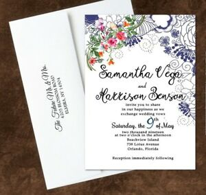 Wedding Invitations Personalized Your Color Pink Navy Gray Green