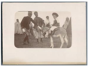 Algerie-Enfant-au-dos-d-039-un-ane-Vintage-citrate-print-Tirage-citrate