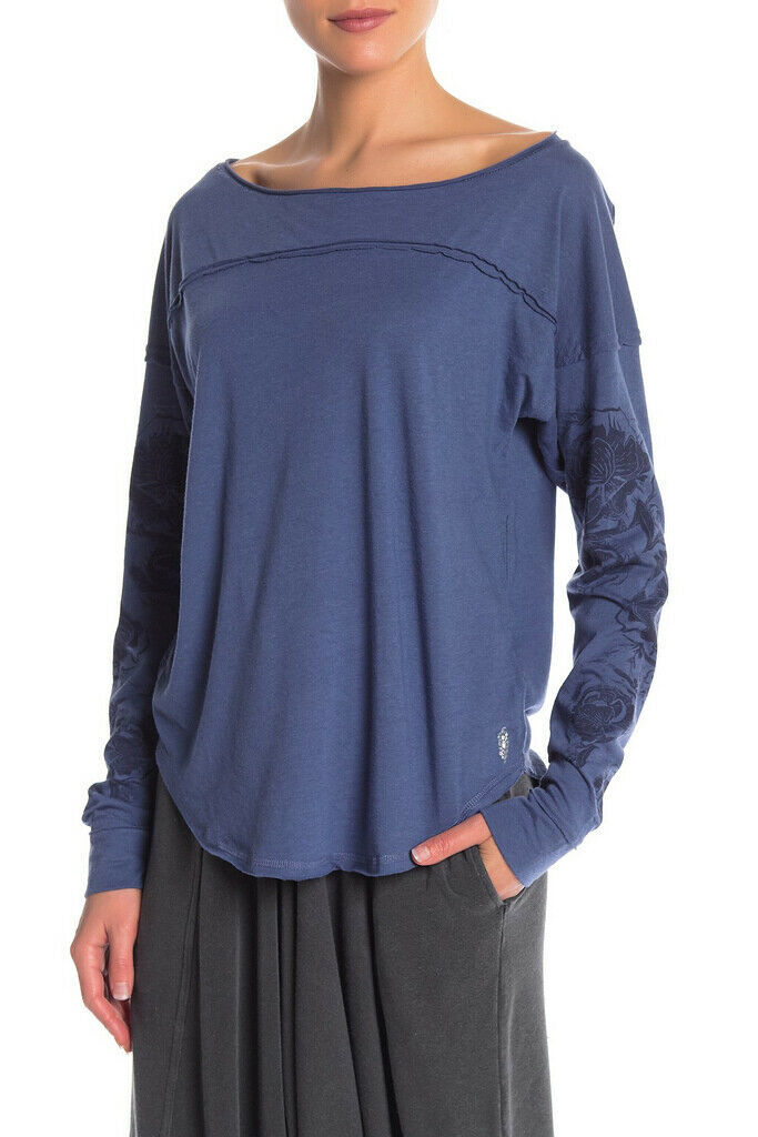 Free People Womens Dance OB814700 Top Long Sleeve Eclipse bluee Size XS