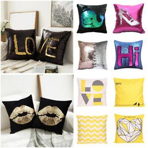 Set-of-2-Throw-Pillow-Case-Cushion-Covers-w-Fun-Reversible-Sequin-Soft-Velvet