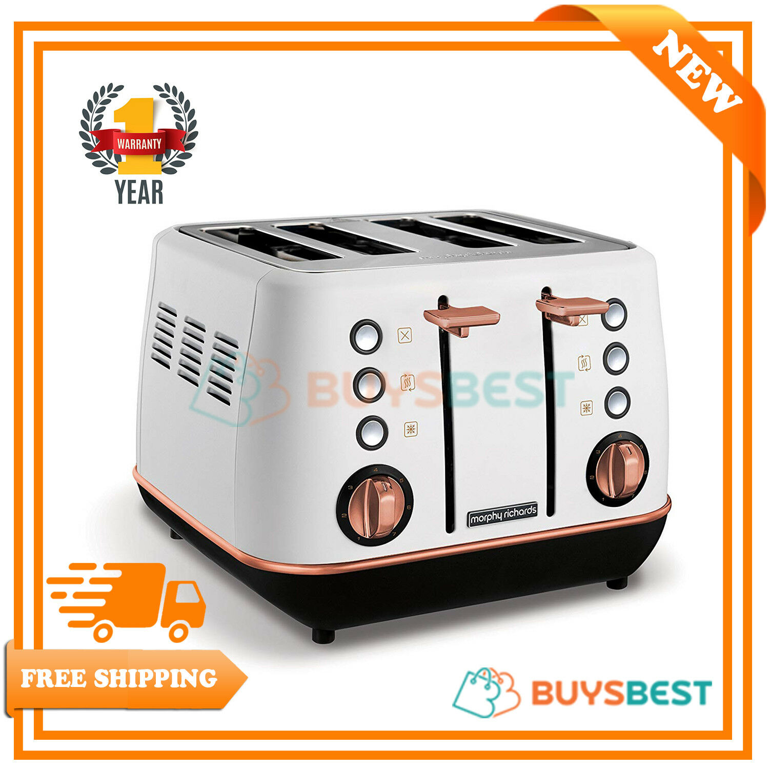 Morphy Richards Evoke Special Edition 4 Slice Toaster White & pink gold - 240115