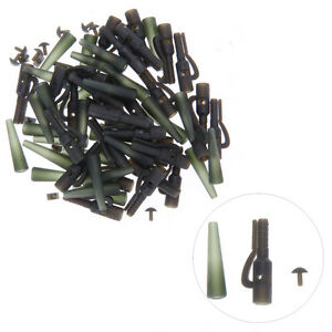 40x-Terminal-Rig-Tackle-Set-Carp-Fishing-Lead-Clips-and-Tail-Rubbers-Weedy-Green