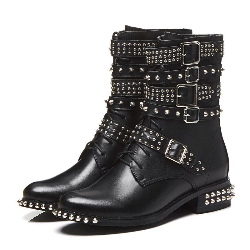 Damens Ankle Rivet Thick Niedrig Up Heels Round Toe Lace Up Niedrig Leder Motorcycle Punk Schuhe 989131