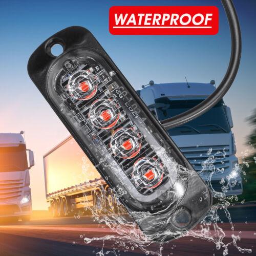 Red 4LED Car Truck Motorcycle Emergency Light Flash Strobe Warning Lamp 12-24V