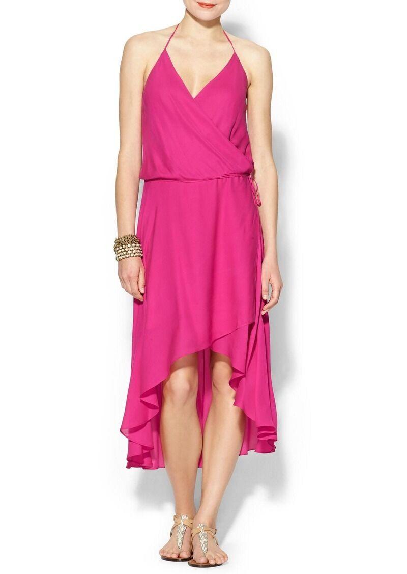 Haute Hippie Pink French Kiss Silk Halter Faux-Wrap Dress Dress Dress   545 size M 1fd842