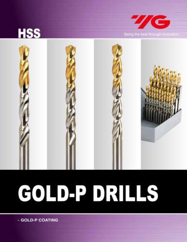 10pcs #24 Cobalt Jobber Length Parabolic Flute TiN Gold-P Drills YG1