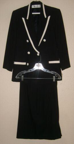 pezzi bianche Tahari rifiniture 2 nera con donna in Giacca 8 pezzi lana misto da qwSO0gz