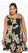 TORRID 22-Floral Print- Ponte Flounce Dress-Sexy-Busty!!