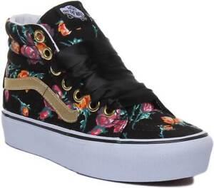 a75866e55f Vans Sk8 High Platforms Women In Black Flower Canvas UK Size 3 - 8 ...