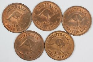 Australia-1943-Halfpenny-Uncirculated-with-some-lustre-5-coins