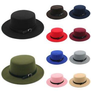 Women s Wool Felt Dome Oval Flat Top Bowler Porkpie Hat Belt Buckle ... e65053ed9bb1