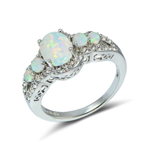 Simulated White Opal and Cubic Zirconia Oval Halo Five Stone Ring