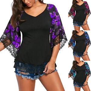 Plus-Size-Women-Floral-Crochet-Bell-Sleeve-Blouse-Summer-Casual-Tops-T-Shirt-s