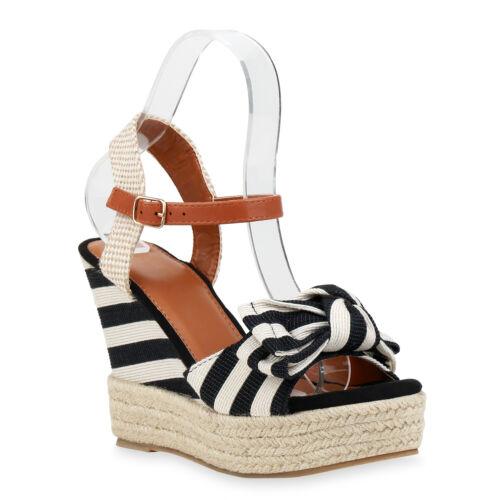 Damen Plateau Sandaletten Prints Schleifen Keilabsatz 835107 Schuhe