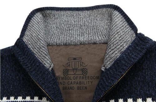 Korean Warm Men Snow Casual Sweater Mens Long Sleeve Knit Cardigan Coat Jackets