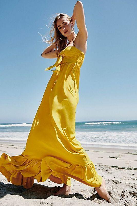 Nuevo  Con Etiquetas Talla Free People XS S con F Fluxx Maxi Vestido Nuevo Amarillo  299  elige tu favorito