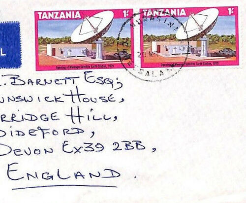 BQ267 TANZANIA Murasini SKELETON POSTMARK Airmail Cover SATELLITE STATION PTS
