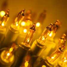White Wire Gold Yellow Christmas Wedding Mini Steady Lights 50 Bulbs, 23' total