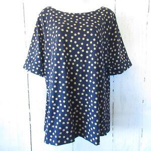 New-Belle-Kim-Gravel-Top-L-Large-Blue-Tan-Polka-Dot-Cuffed-Sleeve-T-Shirt-QVC