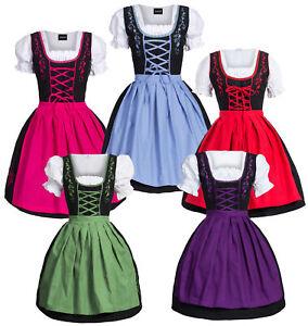 Dirndl-Set-3-tlg-Trachten-Kleid-Bluse-Schuerze-Gr-34-52-in-5-versch-Farben