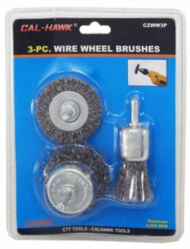 """3pc Wire Wheel Brushes Removing Paint Rust Scales 1/"""" cup 2/"""" cup 2/"""" wheel brush"""