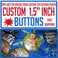 """50 Custom 1.5"""" inch Buttons Badges Pins Punk Indie Bands Rock Pinback"""