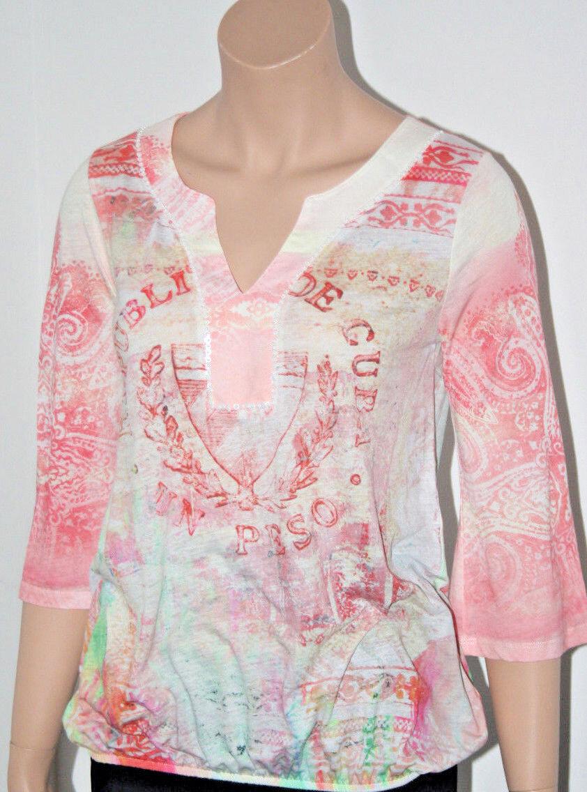 Grace, Shirt, Blaush, natur koralle Rosa, Gummizug, Pailetten, 3 4 Arm