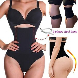 a8fea4649c3 Details about Women High Waist Cincher Girdle Tummy Control Sexy Thong  Panty Body Shaper TB US