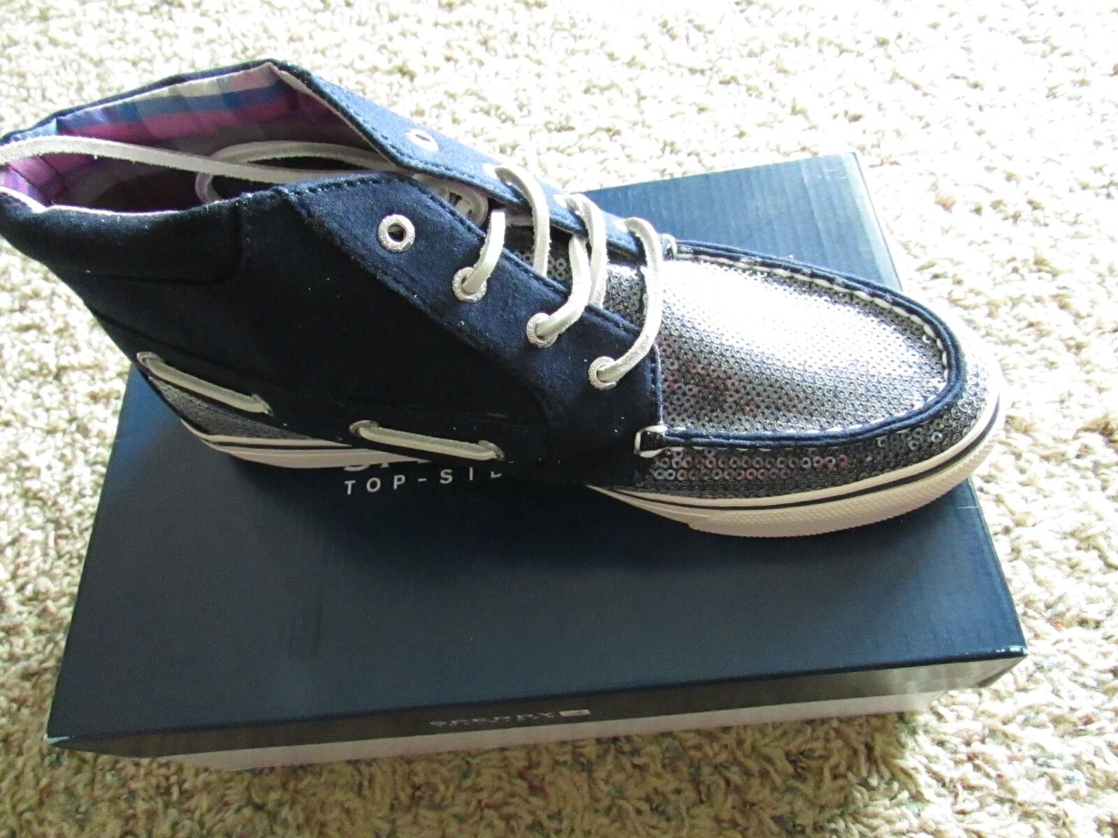 NEW SPERRY TOP-SIDER BETTY CHUKKA MID SHOES WOMENS 8.5 JERSEY SEQUINS FREE SHIP