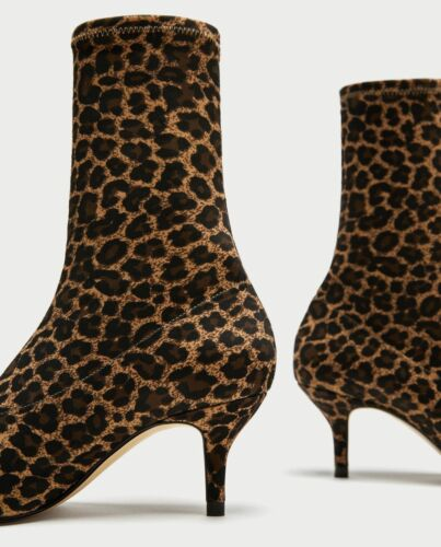 ZARA WOMAN STIEFELETTE LEOPARD STRETCH ANIMAL ANKLE BOOTS LEO PRINTED