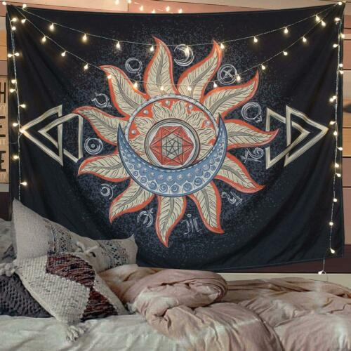 Moon and Star Tapestry Wall Hanging Tapestries Black /& White Wall