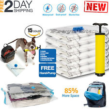 15pc Vacuum Storage Bags Space Saver Hand Pump for Travel Triple Seal Clothes