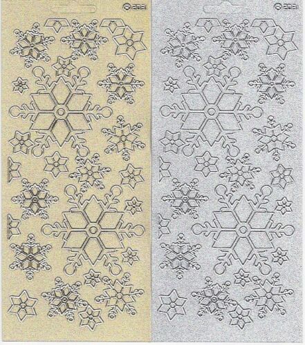 Snowflake Stickers Peel Off Gold Silver Pearl Glitter Christmas Embellishment