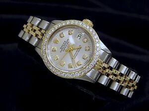 Rolex-Datejust-Lady-14K-Yellow-Gold-amp-Steel-Watch-Silver-Diamond-Dial-1ct-Bezel