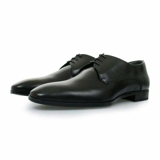 HUGO BOSS Negro Vestido URBAT Zapatos de trabajo Vestido de suela de goma NUEVO UK 11 Con Cordones