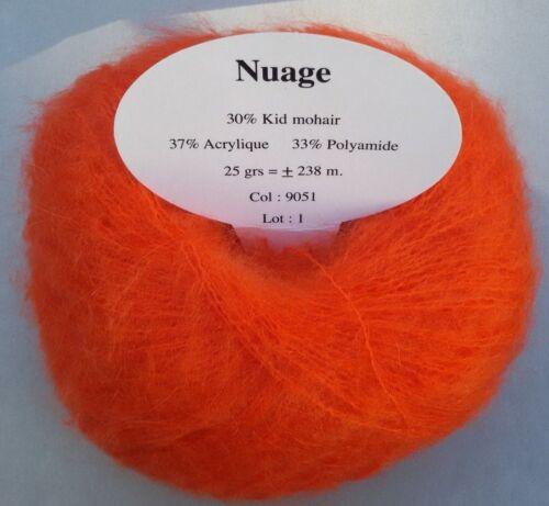 Hergestellt in Frankreich 5 Knäuel Super Kid Mohair Farbe Orange