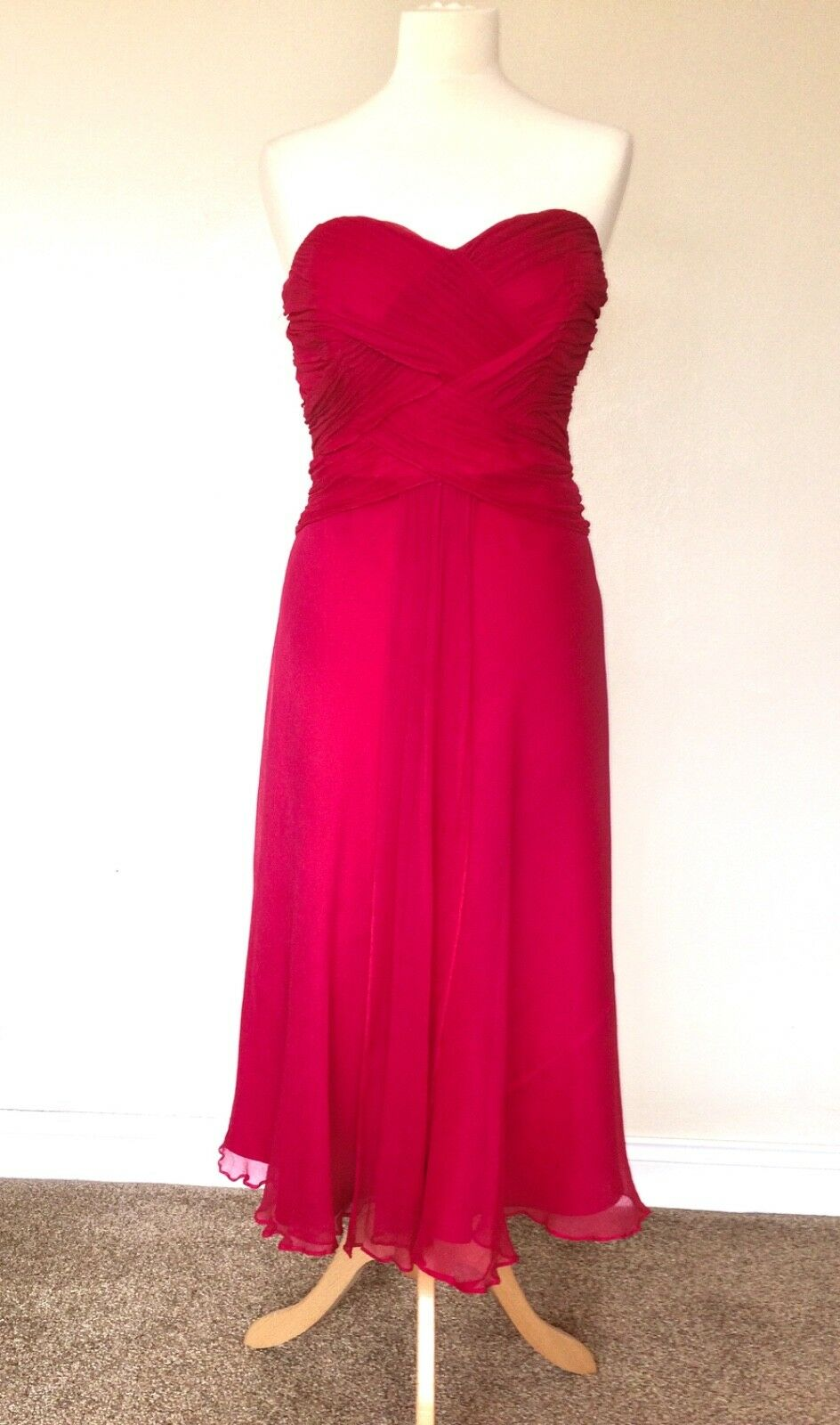 MONSOON SILK STRAPLESS DRESS 14 PINK RED PARTY OCCASION WEDDING PROM