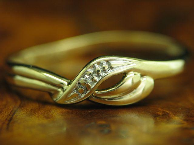 8kt 333 gold RING MIT DIAMANT SOLITÄR BESATZ   BRILLANT   RG 59   0,9g