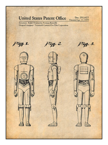C-3PO Patent Print Art Drawing Poster 18X24 1979 Star Wars
