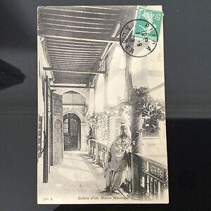 CPA-Algerie-1909-Galerie-Maison-Mauresque-Animee-Postcard-Carte-Postale