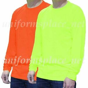Mens T Shirt Polyester Pocket LONG SLEEVE Tee shirt Hi-Vis Safety ...