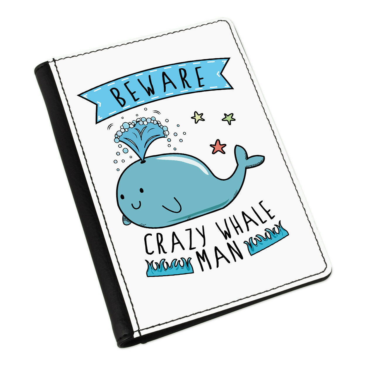 Beware Beware Beware Crazy Whale on Passport Holder Cover Case Wallet-Funny 74be03