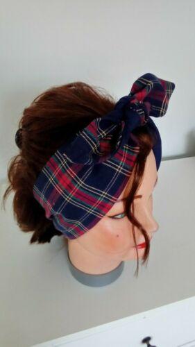 HEAD SCARF TARTAN HAIR BAND NAVY BLUE RED ROCKABILLY PIN UP SWING LAND GIRL