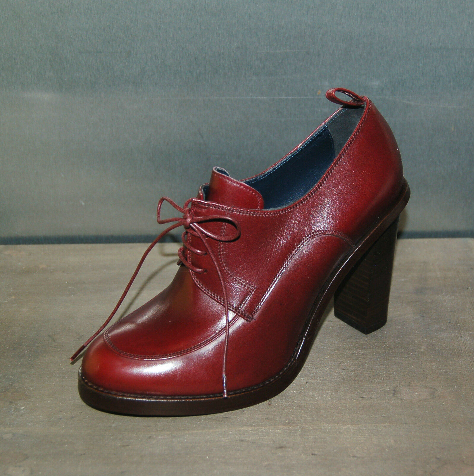 36 - LACEUP DERBY BORDEAUX - ROANO CALF - LEATHER LEATHER LEATHER SOLE - HEEL H.10cm 8ae8f6