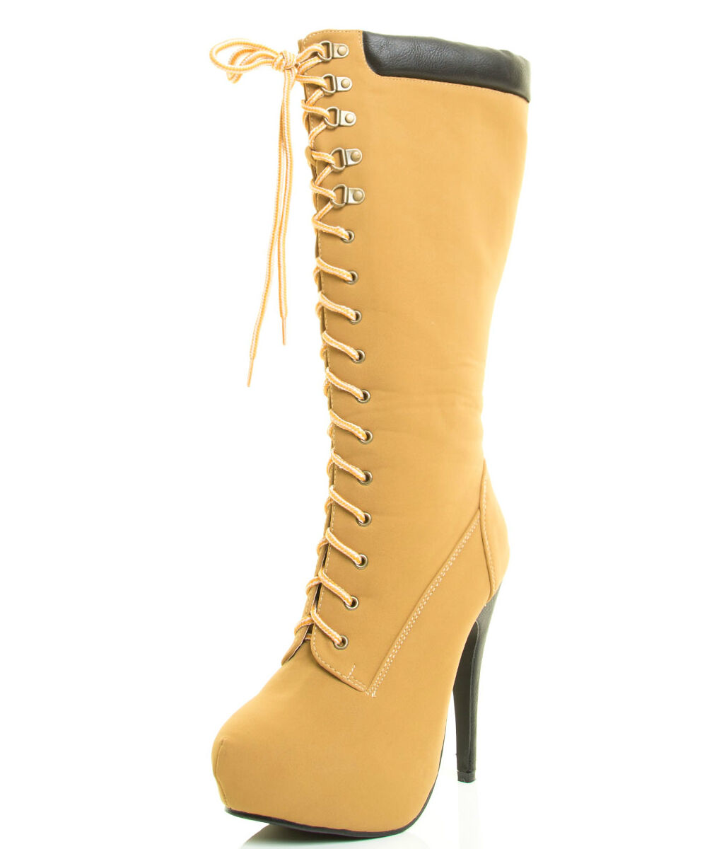 Camel Boot Lace up Heels Women's Shoes Knee high Boots Compose-19
