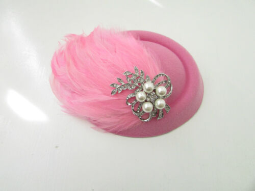 Rose argent plume pilulier chapeau fascinator vintage 1920s têtière courses 40s Y25