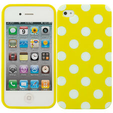 For Apple iPhone 4S 4 TPU Design Rubber Case Cover Polka Dot Yellow White